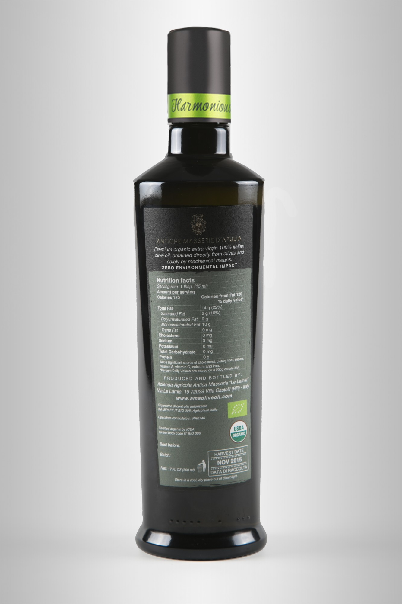 Bottiglia olio Harmonious 500ml B